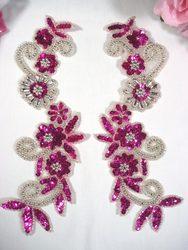 Fuchsia & Silver Mirror Pair Sequin Beaded Appliques 0183