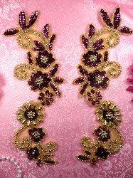 "0183 Mirror Pair Sequin Beaded Appliques Wine Gold 10"""