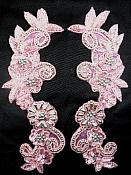 """Appliques Mirror Pair Sequin Beaded Pink Holographic Silver 10"""" 0183X"""
