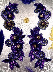 0183 Violet Purple and Gold Mirror Pair Sequin Beaded Appliques 10""