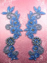 """REDUCED RM0183 Mirror Pair Appliques Sequin Beaded Pastel Blue Silver 10"""""""