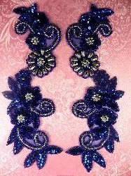 "0183 Royal Blue Silver Mirror Pair Sequin Beaded Appliques 10"""