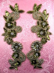 """0183 Appliques Mirror Pair Sequin Beaded Olive Silver 10"""""""