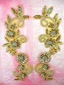 """0183 Appliques Mirror Pair Holographic Sequin Beaded Gold Silver 10"""""""