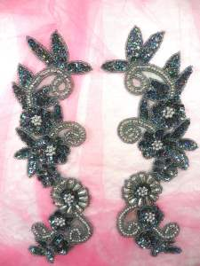 0183 Appliques Mirror Pair Sequin Beaded Gunmetal Holographic Silver 10""