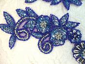 """Appliques Sequin Beaded Blue Purple AB Mirror Pair Holographic Silver Accents 10"""" (0183X)"""