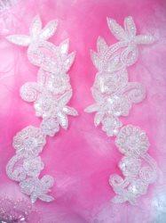 "0183 Aurora Borealis Crystal AB Mirror Pair Sequin Beaded Appliques Floral Vine 10"""