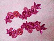 """REDUCED Mirror Pair Applique Coral Fuschia Floral Sequin Beaded Patch 10""""  RM0183X"""