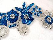 """Mirror Pair Applique Deep Turquoise Silver Floral Sequin Beaded Patch 10"""" (0183X)"""