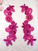"Mirror Pair Applique Fuschia Holographic Floral Sequin Beaded Patch 10"" (0183X)"