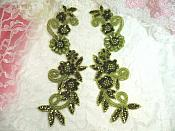 "Appliques Sequin Beaded Olive Green Mirror Pair Costume Designer Motifs 10"" (0183X)"