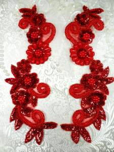 0183 Sequin Appliques Red Holographic Floral Beaded Mirror Pair Dance Patch 10""
