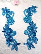 "Mirror Pair Applique Turquoise Holographic Floral Sequin Beaded Patch 10"" (0183X)"