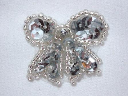 """0185  Silver Bow Sequin Beaded Applique 1.25"""""""