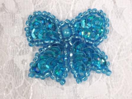 """0185  Turquoise Bow Sequin Beaded Applique 1.25"""""""