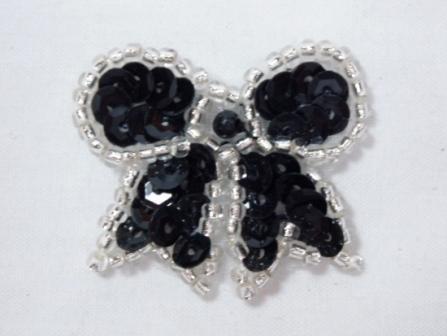 "0185  Black Silver Bow Sequin Beaded Applique 1.25"""