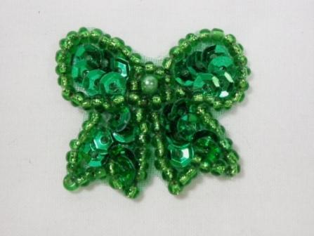 """0185  Green Bow Sequin Beaded Applique 1.25"""""""