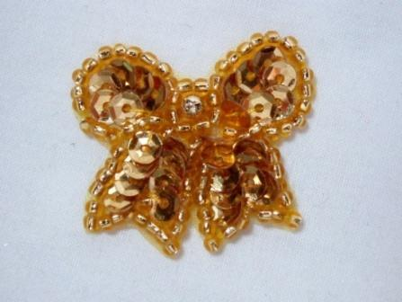 """0185  Gold Bow Sequin Beaded Applique 1.25"""""""