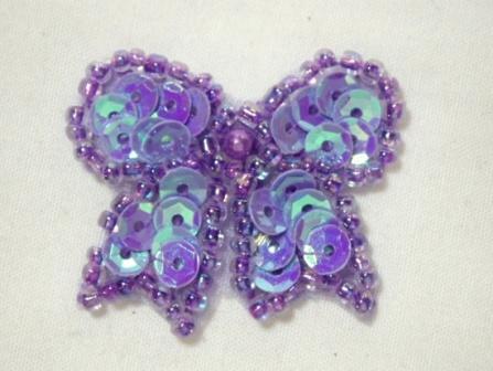 "0185  Lavender AB Bow Sequin Beaded Applique 1.25"""