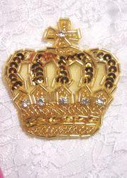 "0222  Gold Rhinestone Crown Beaded Sequin Applique 2.5"""