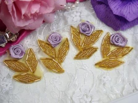 "0228  ( Set of 4 )  Lavender Ribbon Rose Gold Beaded Appliques 1.75"""