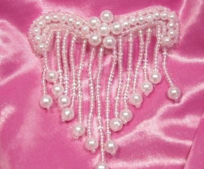 "A0229 Elegant White Pearl Beaded Victorain  Applique 3"""
