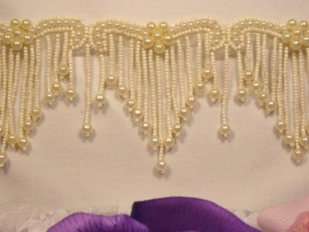 0229  Elegant Ivory Beaded Victorian Trim / Appliques