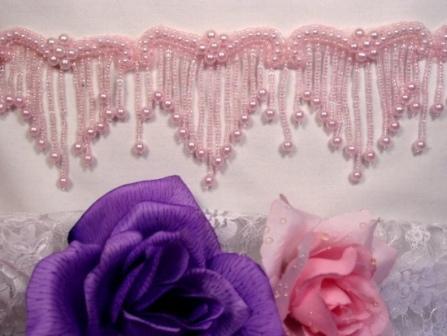 0229  Elegant Pink Beaded Victorian Trim / Appliques