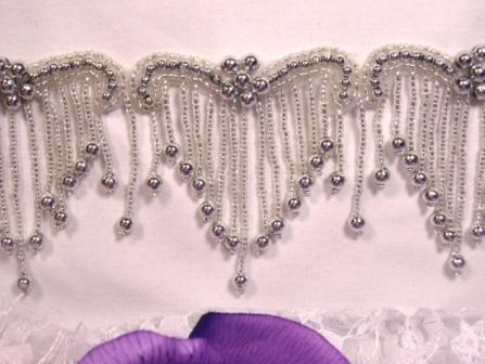 0229  Elegant Silver Beaded Victorian Trim / Appliques