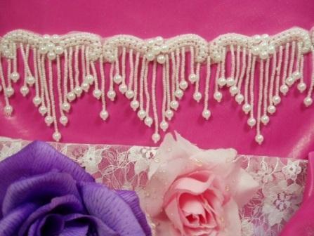 0229  Elegant White Pearl Beaded Victorian Trim / Appliques