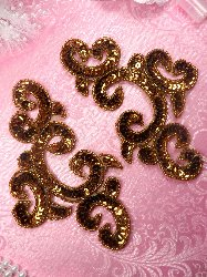 "0242 Appliques Mirror Pair Bronze Sequin Beaded  6"""