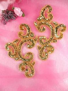 """Appliques Sequin Gold Mirror Pair Beaded Clothing Patch 6"""" JB275"""