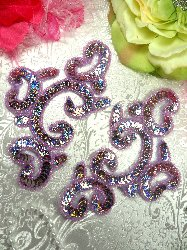 "0242  Appliques Mirror Pair Lavender Holographic Sequin Beaded  6"""