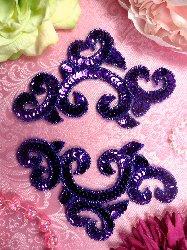 """0242  Purple Appliques Mirror Pair Sequin Beaded  6"""""""