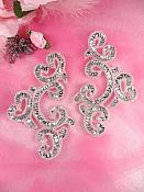 """Sequin Appliques Silver Mirror Pair Sewing Patch Motifs 6"""" JB275X"""