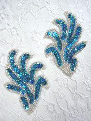 "0244 Turquoise Mirror Pair Sequin Beaded Appliques 3"""