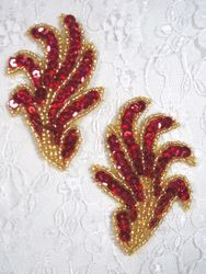 """0244 Red & Gold Mirror Pair Sequin Beaded Appliques 3"""""""