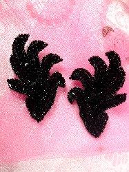 """0244 Black Mirror Pair Beaded Sequin Appliques 3"""""""