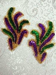 """0244 Mardi Gras Mirror Pair Beaded Sequin Appliques 3"""""""