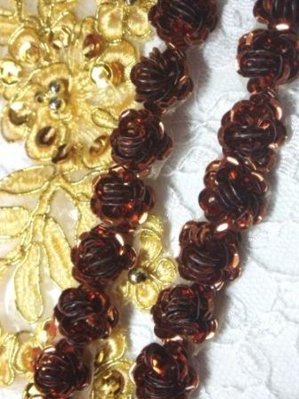 "0248  Bronze Sequin Floral Trim 1/2"""