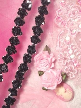"0248  Gunmetal Sequin Floral Trim 1/2"""