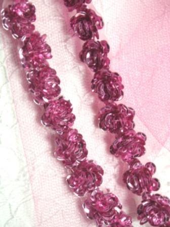 """0248  Mauve Sequin Floral Trim 1/2"""""""