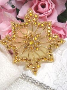 JB96 Applique Gold Rhinestones Gold Beads Crafts Patch 4""