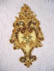 "0261  Gold  Beaded Sequin Applique 7.5"""