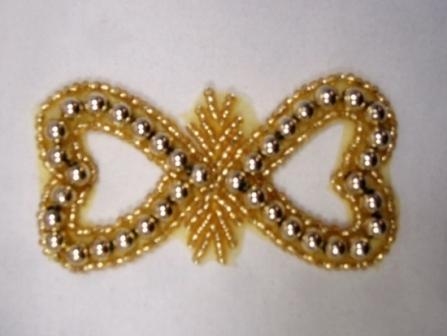"0265  Gold Double Heart Beaded Applique 3"""
