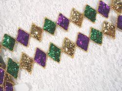 0271  Purple Green Gold Diamond Sequin Beaded Trim