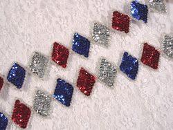 0271 Patriotic Diamond Sequin Beaded Trim