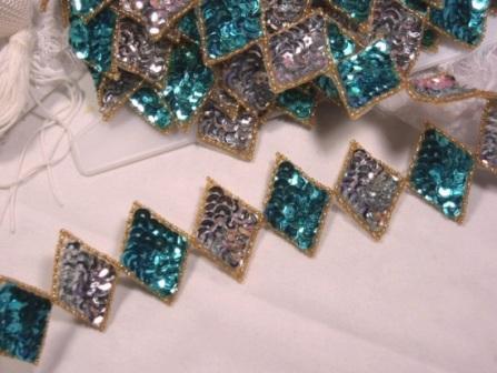 0271  Turquoise Diamond Sequin Beaded Applique or Trim
