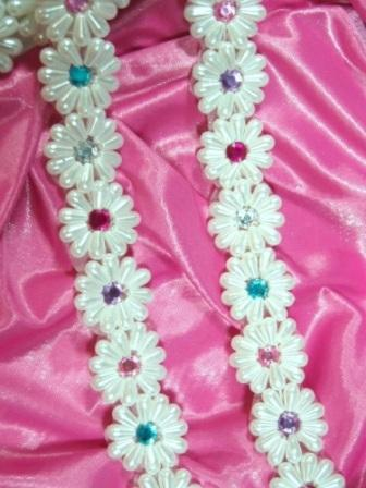 "0273A  White Pearl Jewel  Beaded Trim 1-1/8"""