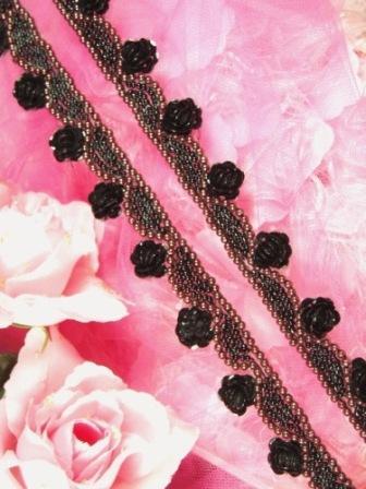 0275  Black Chocolate Floral Sequin Beaded Trim